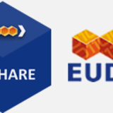 Two logos, blue hexagon with text B2SHARE in it and three small orange cubes in a row with blue text EUDAT under them.