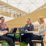 Students studying in the new BIZ building - Photo by Unto Rautio