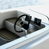 Beautiful electric powered boat Skand designed by Jean Munck and Laura Hietala.