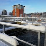 Wastewater plant in snowy winter time