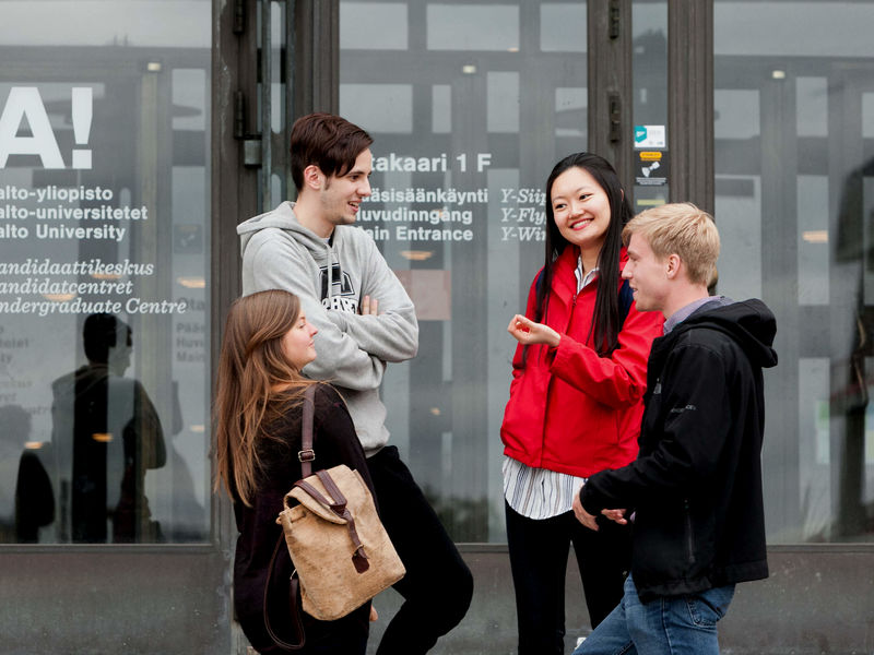 Aalto University Students  in front of Undergraduate Center