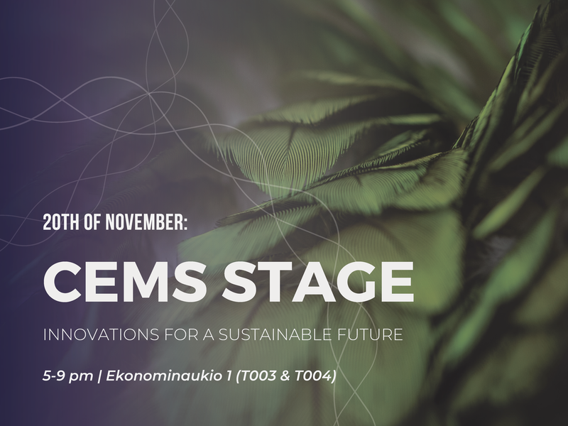 The picture shows the invitation to a CEMS Stage event on November 20, 2019.