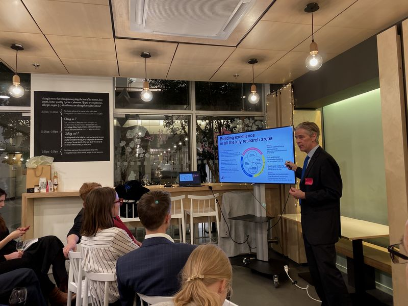 Aalto Alumni meet-and-greet in Brussels, Dean Ingmar Björkman giving a presentation on Aalto University