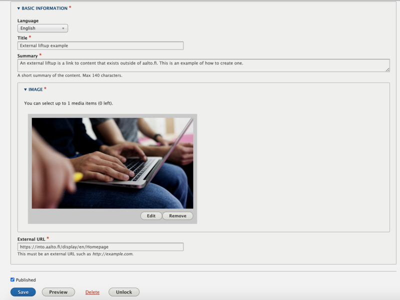 Screenshot of basic information field for creating an external liftup, with all fields completed and a picture of people using a laptop.