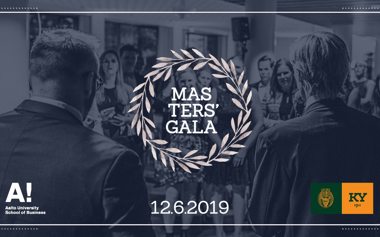 School of Business Masters' Gala logo and a photo taken in the Masters' Gala 2018, with some of the participants standing in the crowd.