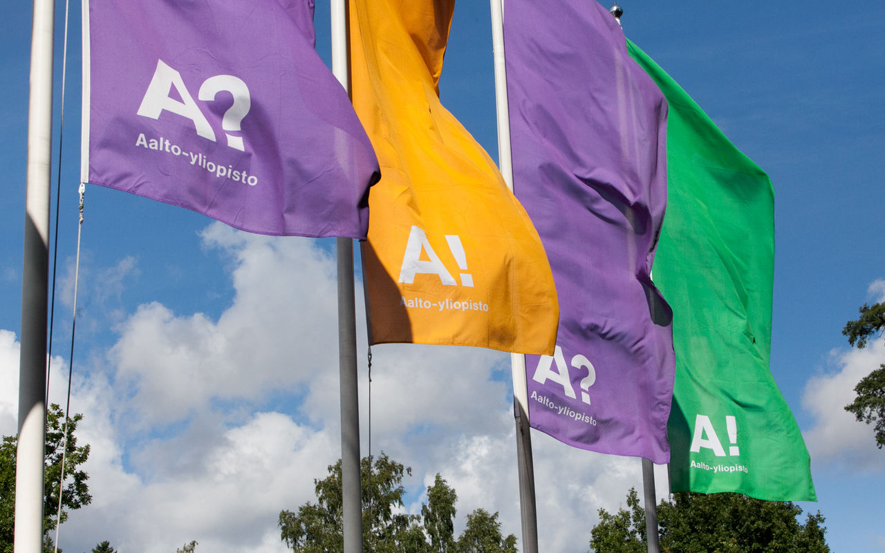 Aalto University flags. Photo: Aino Huovio