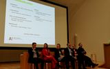 In the photo, there are the School of Business alumni who took part in the panel discussion in the Meet Your Community event. From the left: Niklas Huotari, Elisa Hauru, Annika Alestalo, Juho Saarinen, Kirsi Klemola and Aleksi Halttunen.