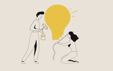 Illustration on beige background: two students painting a big yellow lightbulb.