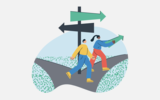Green nudges illustration, two people walking on a dirt road in a park