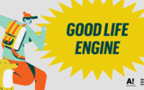 Good Life Engine: First steps colorful event banner with an illustration of a person and a dog