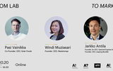 From Lab to Market event banner with pictures of speakers Pasi Vainikka, Windi Muziasari and Jarkko Antila