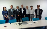 Professor Arto Lindblom (2nd from the left) and Professor of Practice Lasse Mitronen (in the middle) discussed innovation activities with Japanese researchers and business leaders.