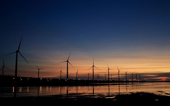 Wind farm by the water at sunset.