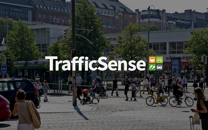 Traffic scene from Helsinki with the TrafficSense logo