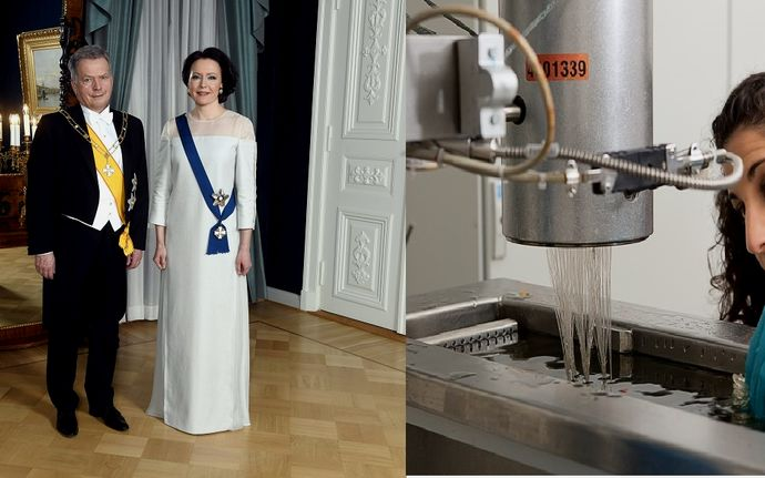Jenni Haukio,spouse of Finnish President,Sauli Niinistö, wearing an Aalto University-created evening gownmade with birch-based Ioncell fibre from Finland's plentiful forests(on the left), Resaerch work_Puu19