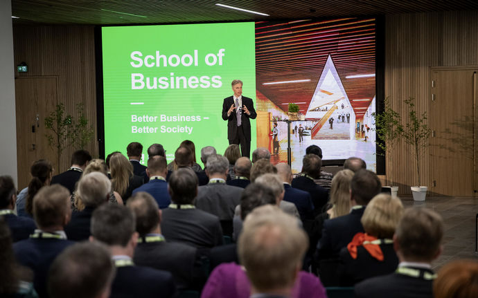 School of Business formal opening in June 2019. Dean Ingmar Björkman speaking to audience. Photo: Marko Oikarinen