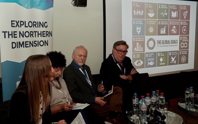 Panelists discussing during the Northern Dimension Future Forum in St Petersburg in 2018