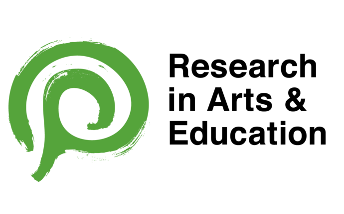 Research in Arts and Education logo. Green spiral.