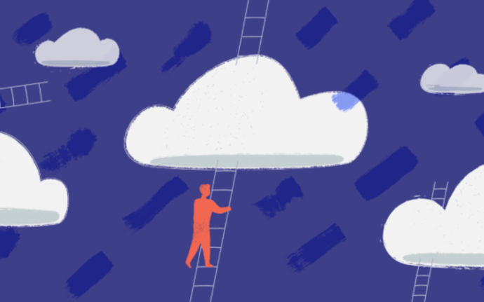 Illustration of human figures climbing stairs to clouds on blue background. / illustration: Lisa Staudinger