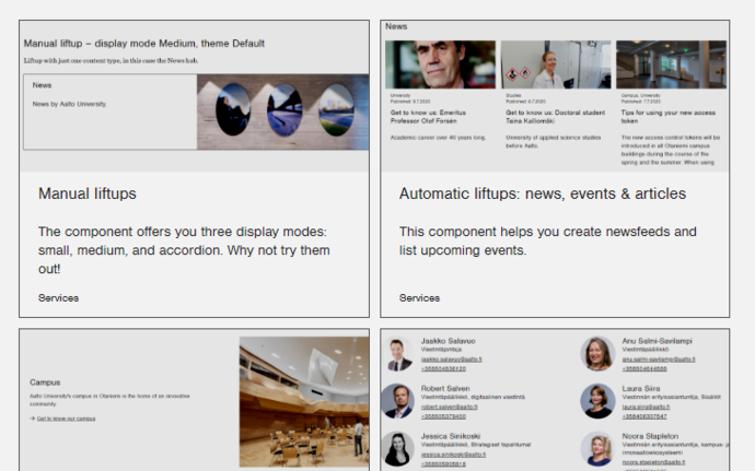 Screenshot of the different components used as liftups at aalto.fi
