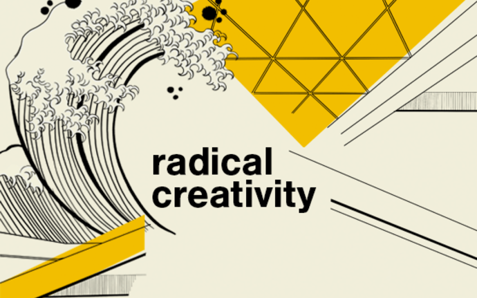 Radical creativity illustration, showing wave and some details from campus architecture, illustration by Anna Muchenikova