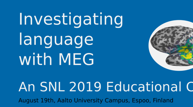 Logo of the Investigating Language with MEG Educational Course, illustration by Mia Liljeström.