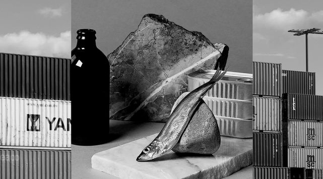 a collage of photos with shipping containers alongside with a set of still life objcts such as bottle, fish and rocks, all black and white