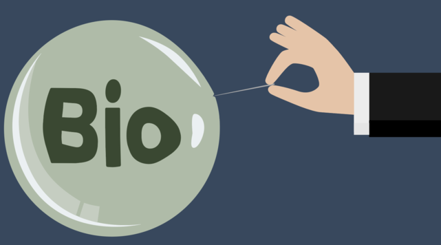 Illustration of hand holding a pin on a bubble labeled bio