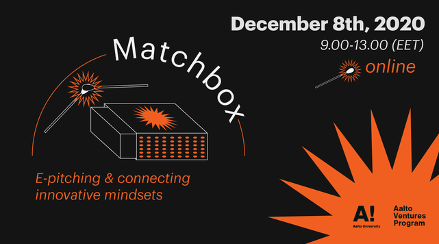 Banner image for Matchbox event with a black background and orange illustrations of matches
