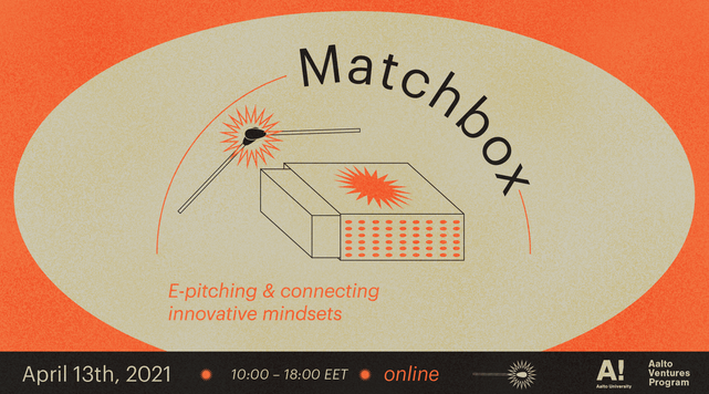"A banneer with an illustration of a matchbox and the text ""Matchbox - E-pitching & connecting innovative mindsets"". Banner colored in beige, orange and black and has a vintage, textured feel to it."