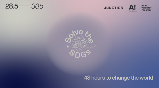 "In the middle the text ""Solve the SDGs"" is written in a circle. Around it a soft, gradient background in blue, purple, light gray and light pink colors. At the bottom it says ""48 hours to change the world"" and on top are the logos of Aalto University, Aalto Ventures Program and Junction."