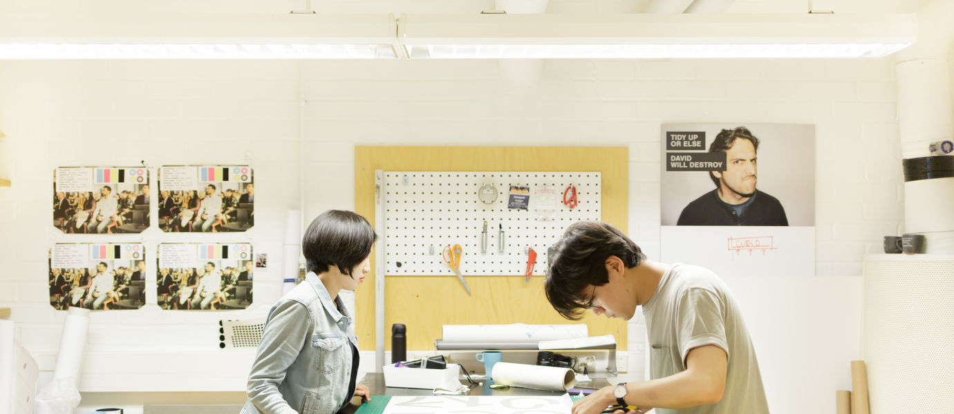 Two students working at the Aalto University Design Factory's PrintLab