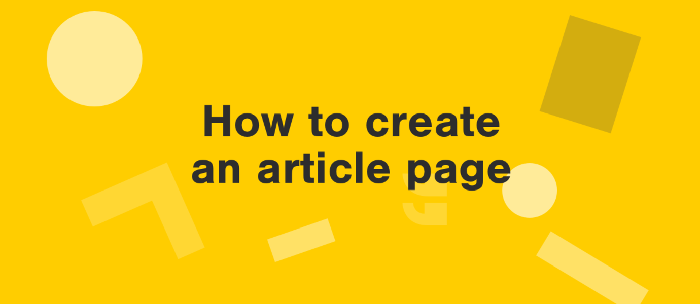 title graphic - how to create an article page