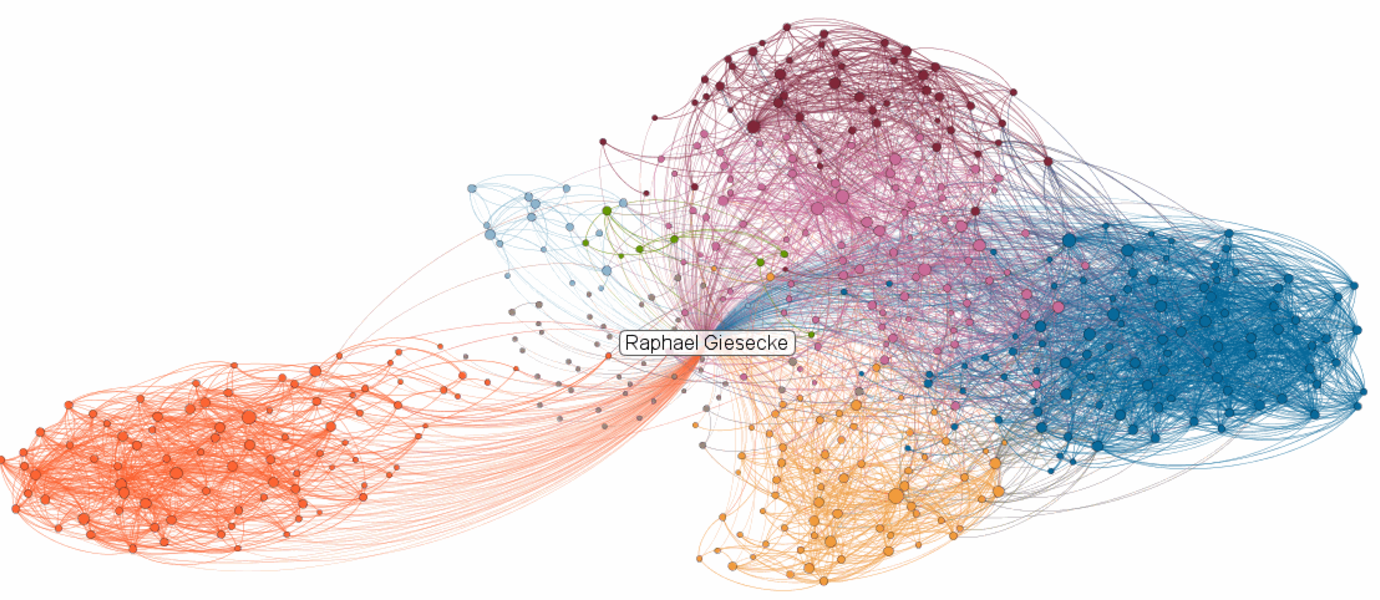 An illustration of a LinkedIn network. Colours illustrate diversity and boundary spanners connect some of the clusters (bubbles). Image: Raphael Giesecke.