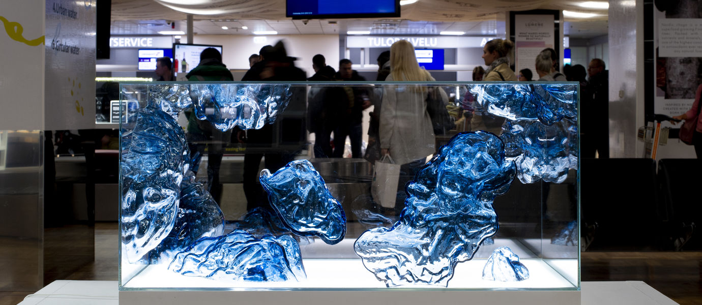 Fragile Water display at Helsinki-Vantaa airport