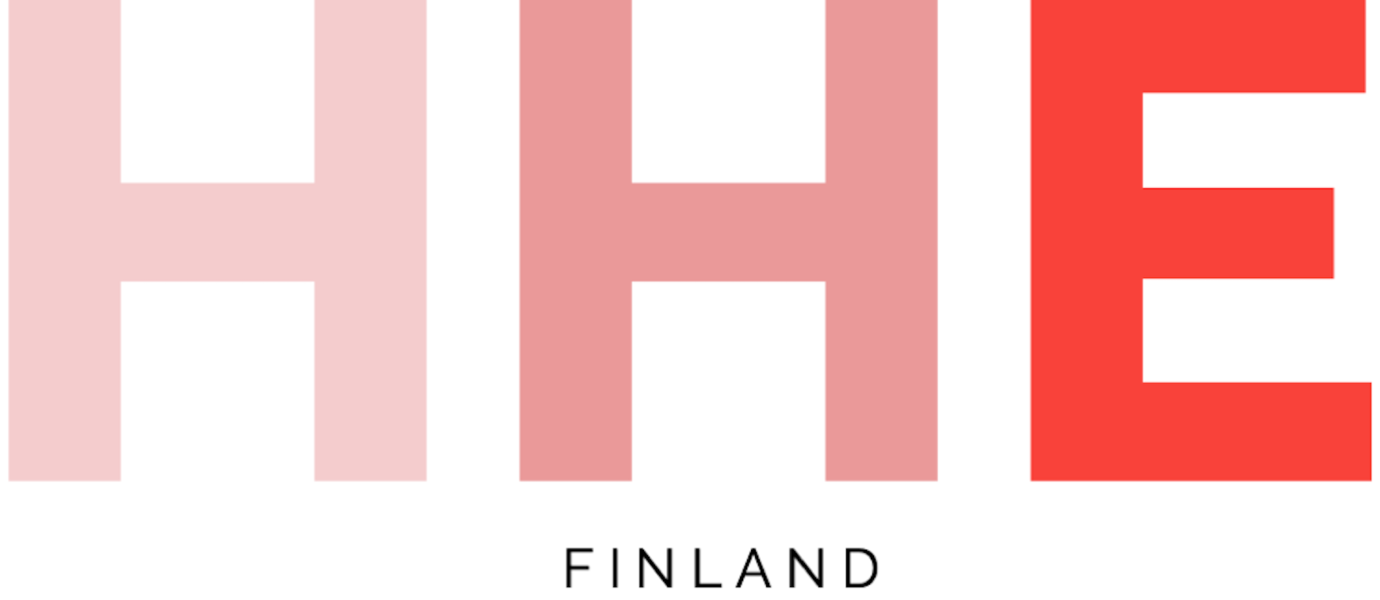 "3 red letters of H and text ""Finland""."