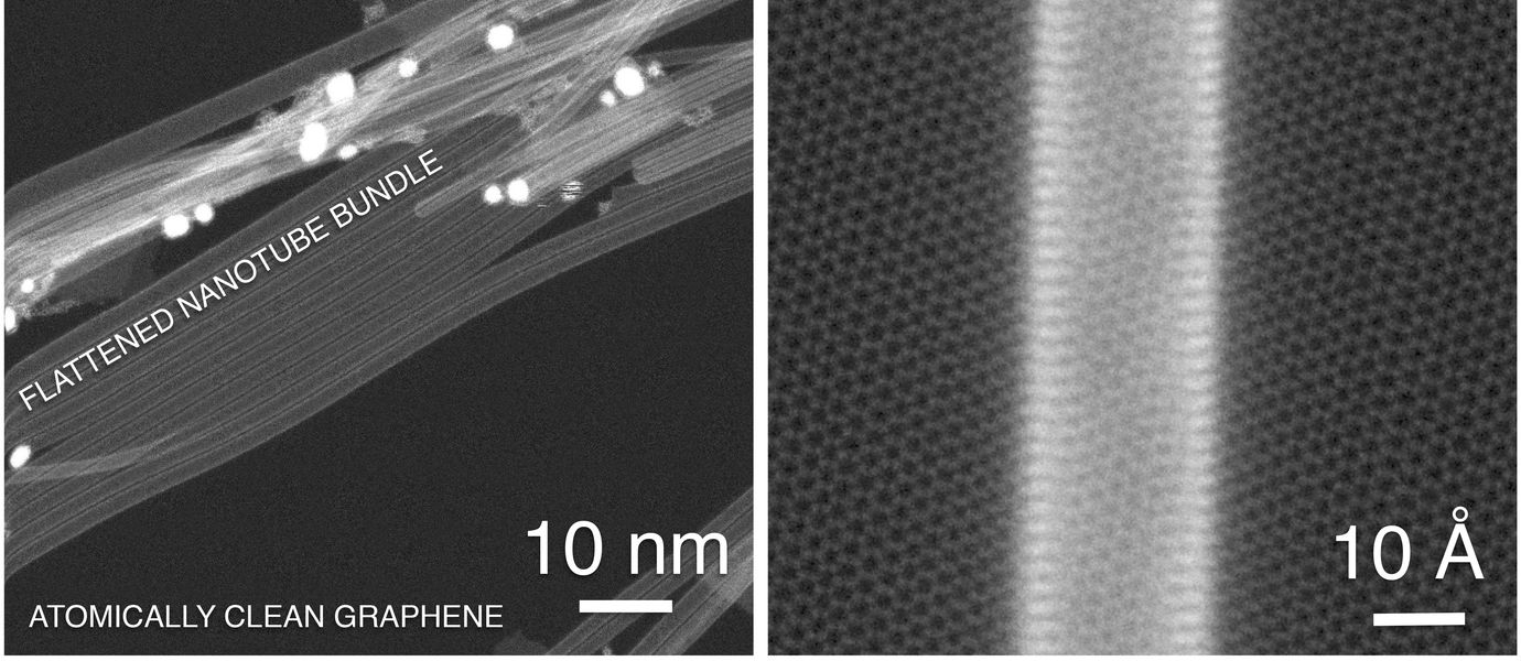 an electron microscope image showing a carbon nanotube on top of a substrate of graphene