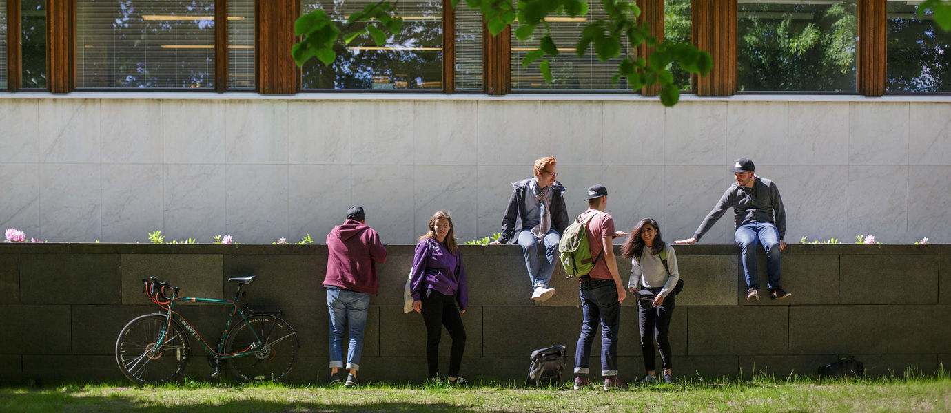 A group of students sat on a wall