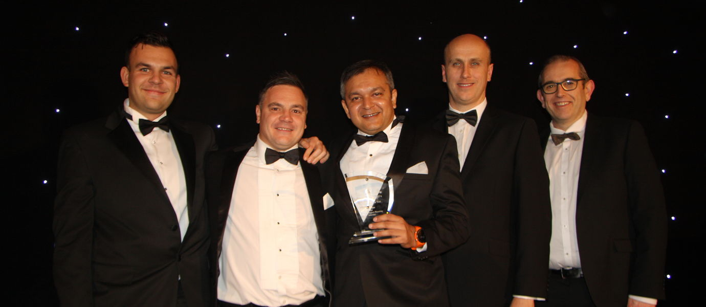 Bhargav Dave of VisiLean (middle) at the 2019 Construction Computing Awards