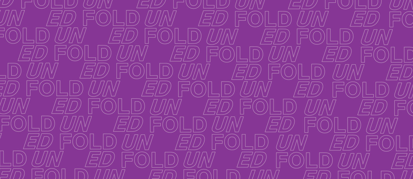 Wallpaper on purple background with the word unfolded on it