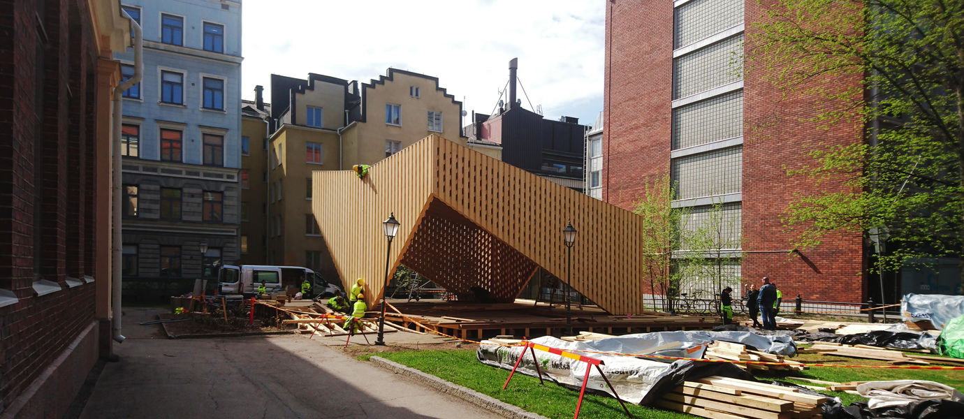 A•LAVA summer theatre under constuction by the Wood Program at Aalto University. Photos: Marc Goodwin & Philip Tidwell