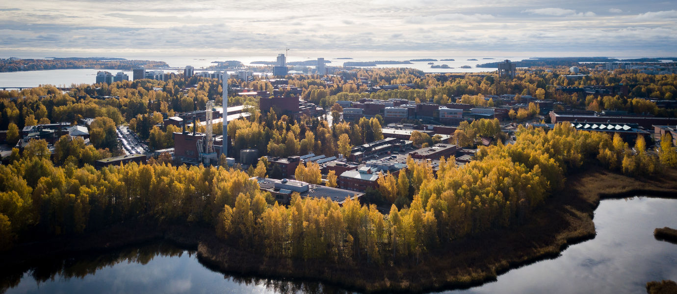 An autumnal aerial view of Aalto University campus from Laajalahti, autumn colours, yellow and orange, are prominent in the trees