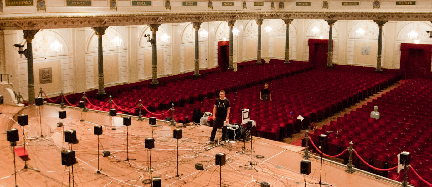 virtual acoustics research group doing measurements in a concert hall