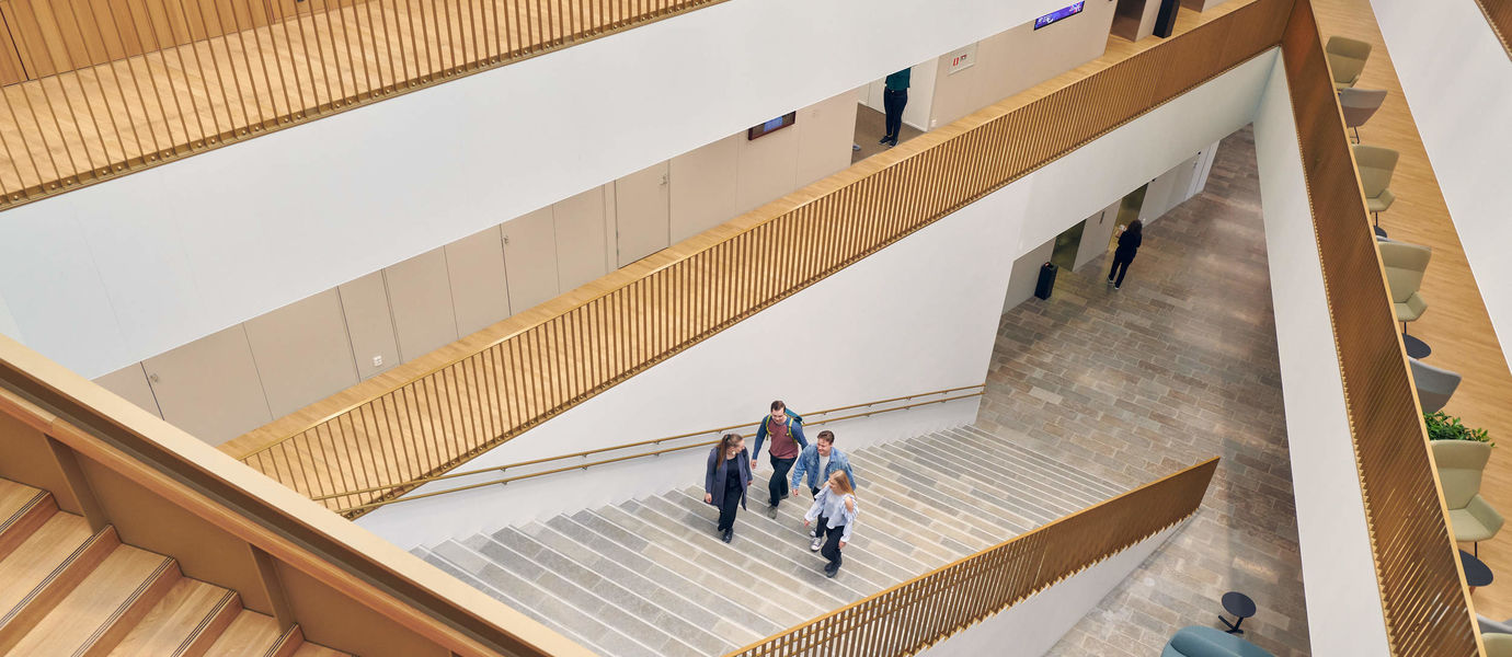 The photo shows the School of Business main staircase. The photo was taken by Unto Rautio.
