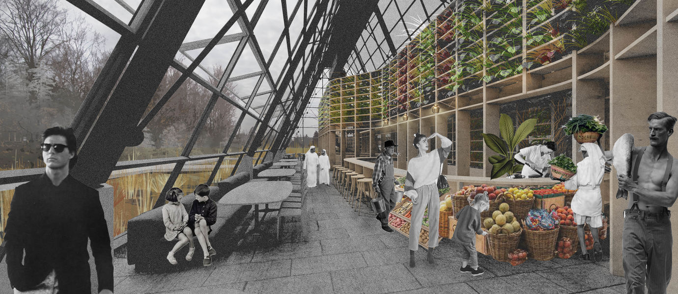 sketch for the new use of Gardenia building in Viikki, Helsinki: a vertical farm. people walking indoors the glass-walled building, fruits being sold there