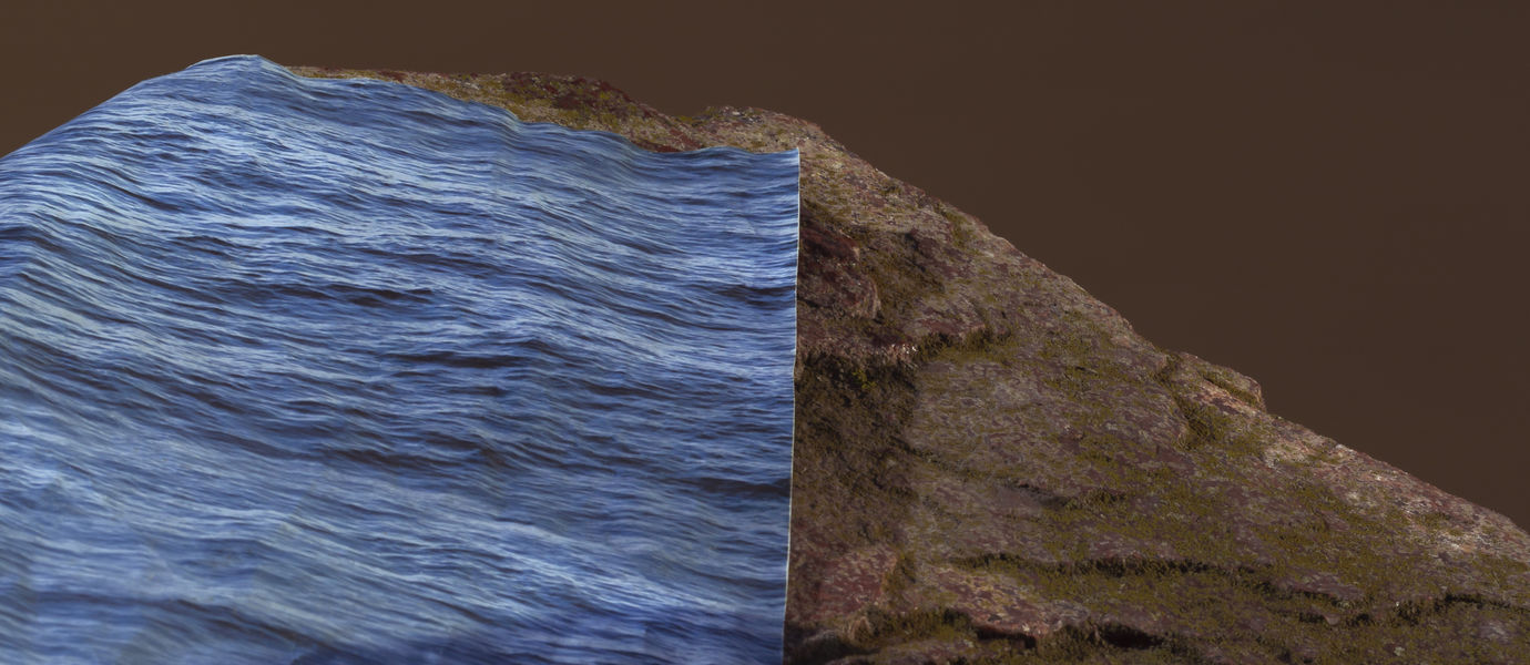 a blue colored print marking water has been placed on a rock to showcase the rising of water due to climate change