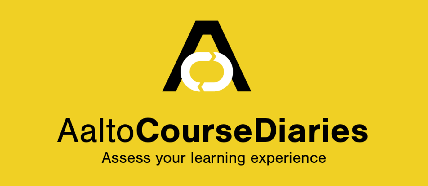 "Feature image of Aalto University Course Diary mobile application. It says: ""Aalto Course Diary: Assess your learning experience"""