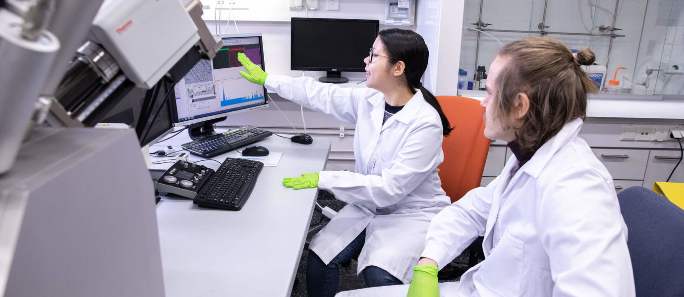 Students in laboratory working on the computer