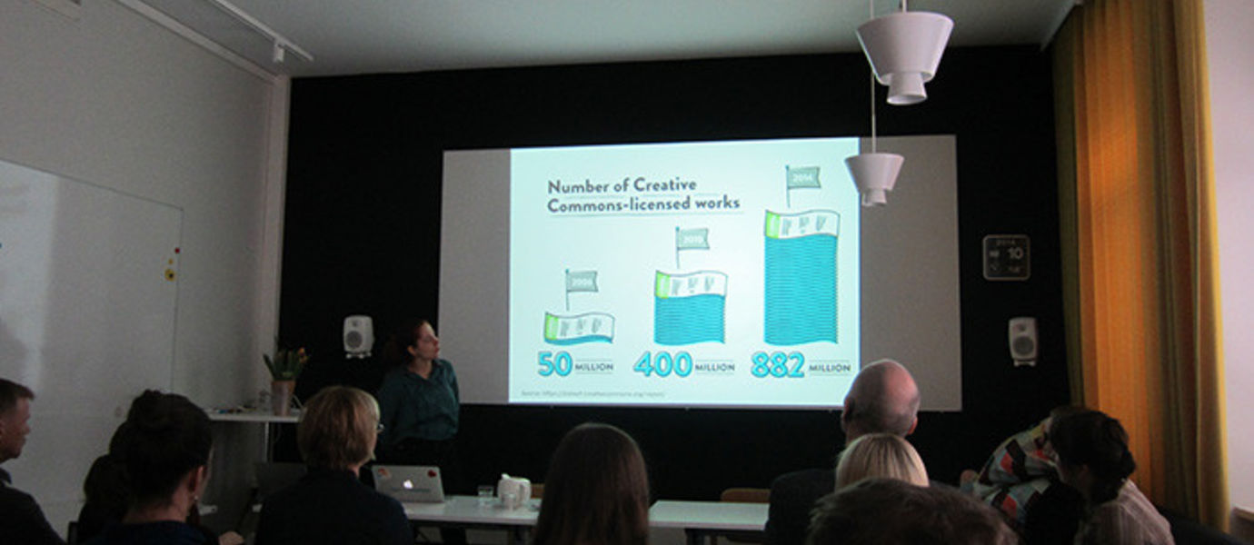 Project Director Sanna-Maria Marttila from  the School of Arts, Design and Architecture spoke about open cultural data.