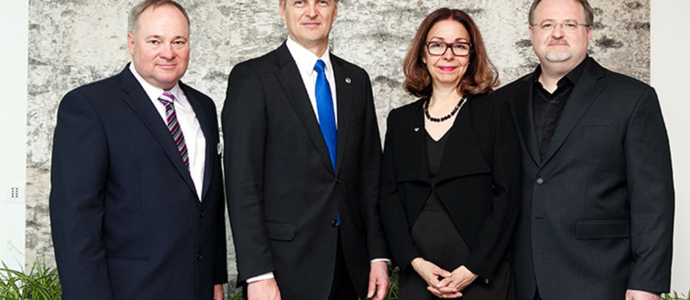 From the left: Professor Lasse Niemi, Provost Ilkka Niemelä, Professors Lily Díaz and Toni Kotnik. Photo Aino Huovio.